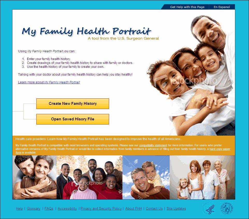 amazing my family home page #3: My Family Health Portrait Website. Design Comp v2a - Homepage